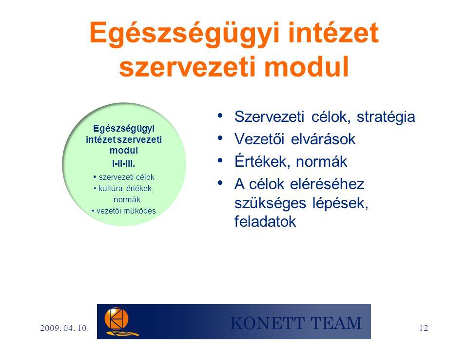 12 Egészségügyi intézet szervezeti modul • Szervezeti célok, stratégia • Vezetői elvárások • Értékek, normák • A célok eléréséhez szükséges lépések, f