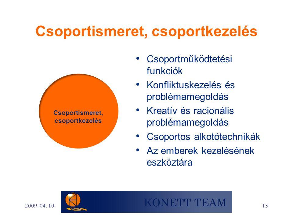 13 Csoportismeret, csoportkezelés • Csoportműködtetési funkciók • Konfliktuskezelés és problémamegoldás • Kreatív és racionális problémamegoldás • Cso