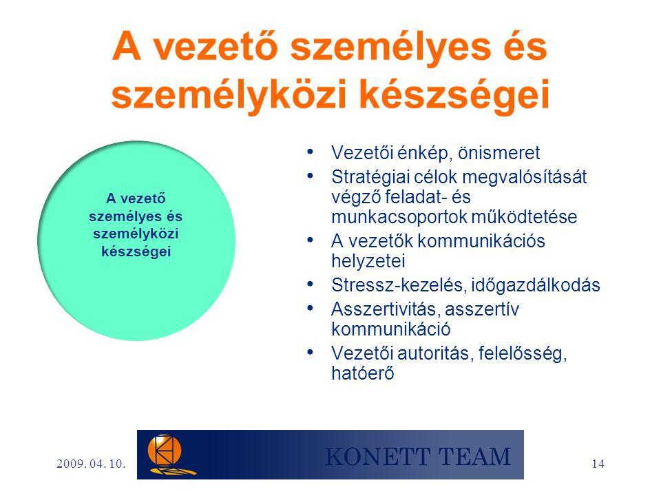 14 A vezető személyes és személyközi készségei • Vezetői énkép, önismeret • Stratégiai célok megvalósítását végző feladat- és munkacsoportok működteté