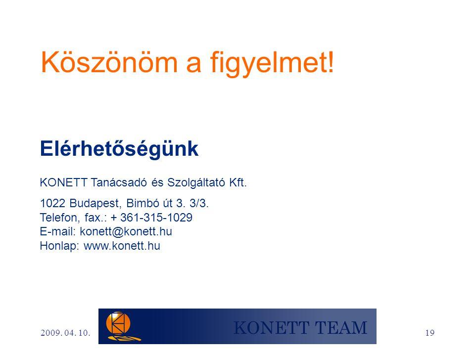 19 Köszönöm a figyelmet! Elérhetőségünk KONETT Tanácsadó és Szolgáltató Kft. 1022 Budapest, Bimbó út 3. 3/3. Telefon, fax.: + 361-315-1029 E-mail: kon