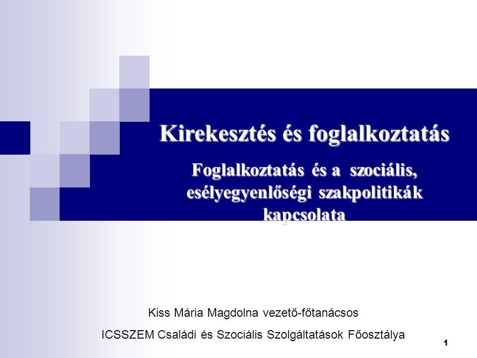 1 Kirekesztés és foglalkoztatás Foglalkoztatás és a szociális, esélyegyenlőségi szakpolitikák kapcsolata Kiss Mária Magdolna vezető-főtanácsos ICSSZEM