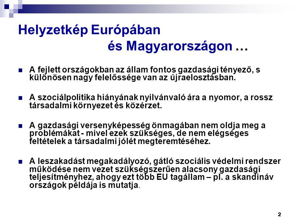 2 Helyzetkép Európában és Magyarországon …  A fejlett országokban az állam fontos gazdasági tényező, s különösen nagy felelőssége van az újraelosztás