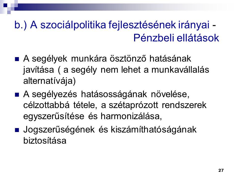 27 b.) A szociálpolitika fejlesztésének irányai - Pénzbeli ellátások  A segélyek munkára ösztönző hatásának javítása ( a segély nem lehet a munkaváll