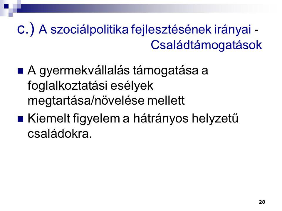 28 c.) A szociálpolitika fejlesztésének irányai - Családtámogatások  A gyermekvállalás támogatása a foglalkoztatási esélyek megtartása/növelése melle