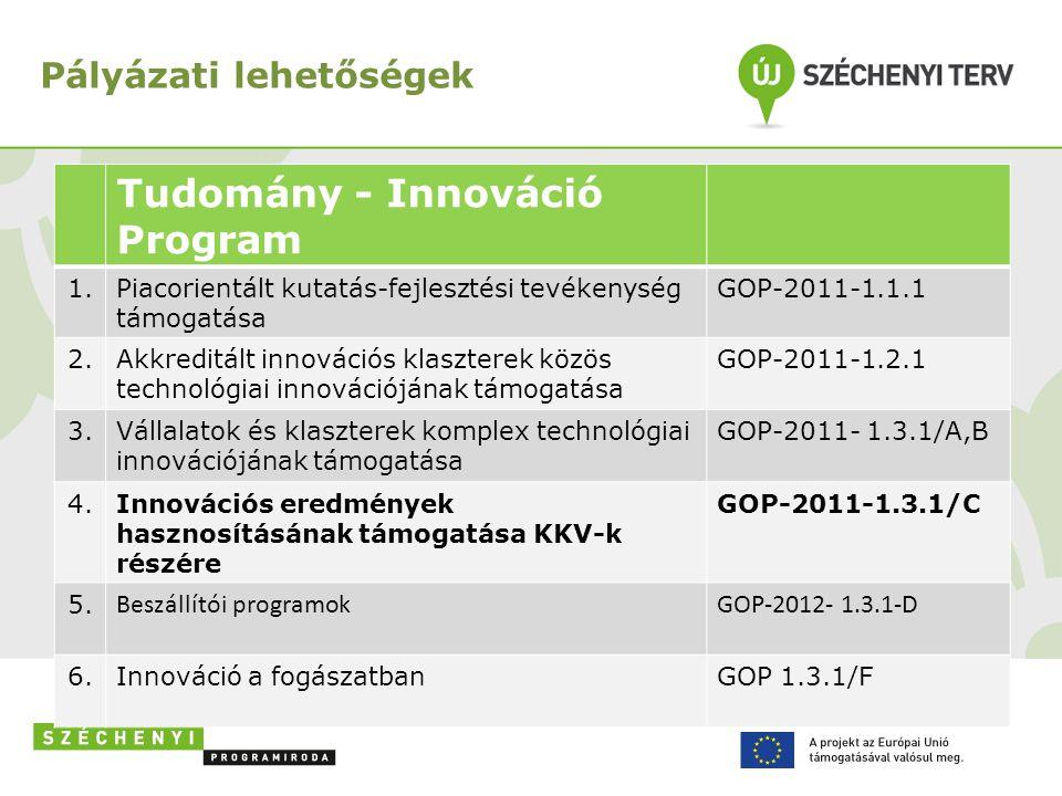 Pályázati lehetőségek Tudomány - Innováció Program 1.Piacorientált kutatás-fejlesztési tevékenység támogatása GOP-2011-1.1.1 2.Akkreditált innovációs