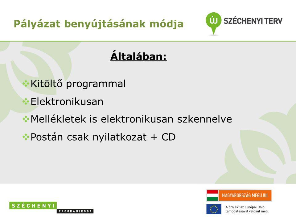 Általában:  Kitöltő programmal  Elektronikusan  Mellékletek is elektronikusan szkennelve  Postán csak nyilatkozat + CD Pályázat benyújtásának módj