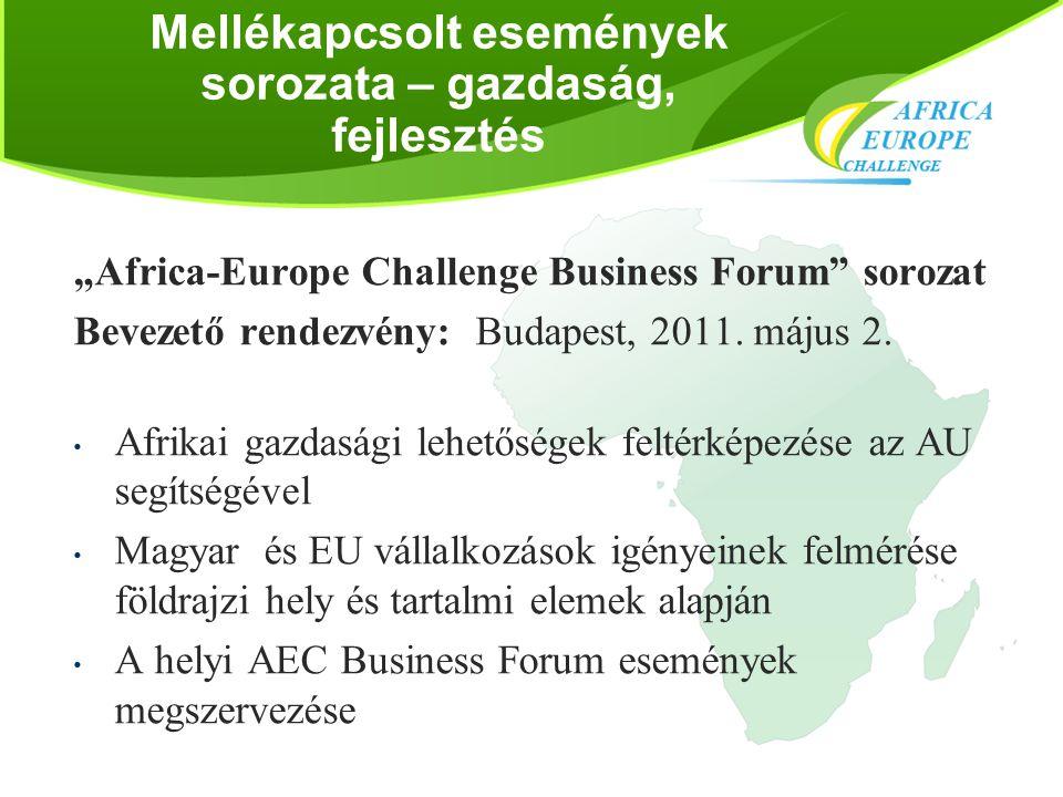 """Mellékapcsolt események sorozata – gazdaság, fejlesztés """"Africa-Europe Challenge Business Forum"""" sorozat Bevezető rendezvény: Budapest, 2011. május 2."""