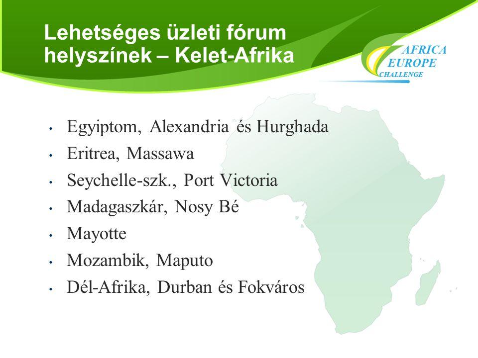 Lehetséges üzleti fórum helyszínek – Kelet-Afrika • Egyiptom, Alexandria és Hurghada • Eritrea, Massawa • Seychelle-szk., Port Victoria • Madagaszkár,