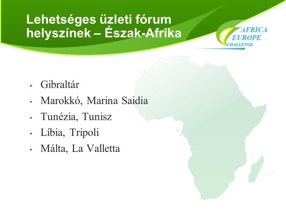 Lehetséges üzleti fórum helyszínek – Észak-Afrika • Gibraltár • Marokkó, Marina Saidia • Tunézia, Tunisz • Líbia, Tripoli • Málta, La Valletta