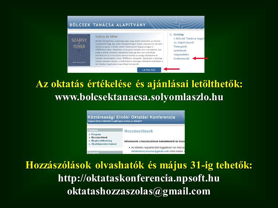 Az oktatás értékelése és ajánlásai letölthetők: www.bolcsektanacsa.solyomlaszlo.hu Hozzászólások olvashatók és május 31-ig tehetők: http://oktataskonferencia.npsoft.hu oktatashozzaszolas@gmail.com