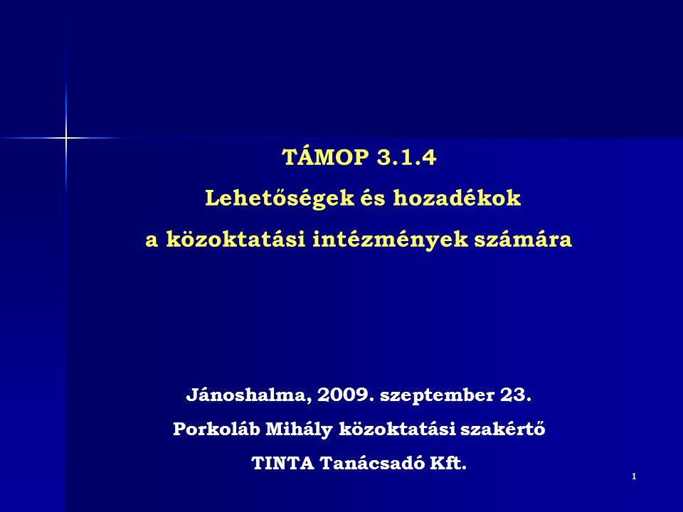 1 TÁMOP 3.1.4 Lehetőségek és hozadékok a közoktatási intézmények számára Jánoshalma, 2009. szeptember 23. Porkoláb Mihály közoktatási szakértő TINTA T