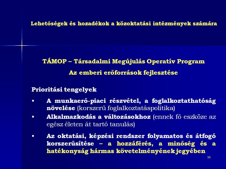11 TÁMOP – Társadalmi Megújulás Operatív Program Az emberi erőforrások fejlesztése Prioritási tengelyek • A munkaerő-piaci részvétel, a foglalkoztatha