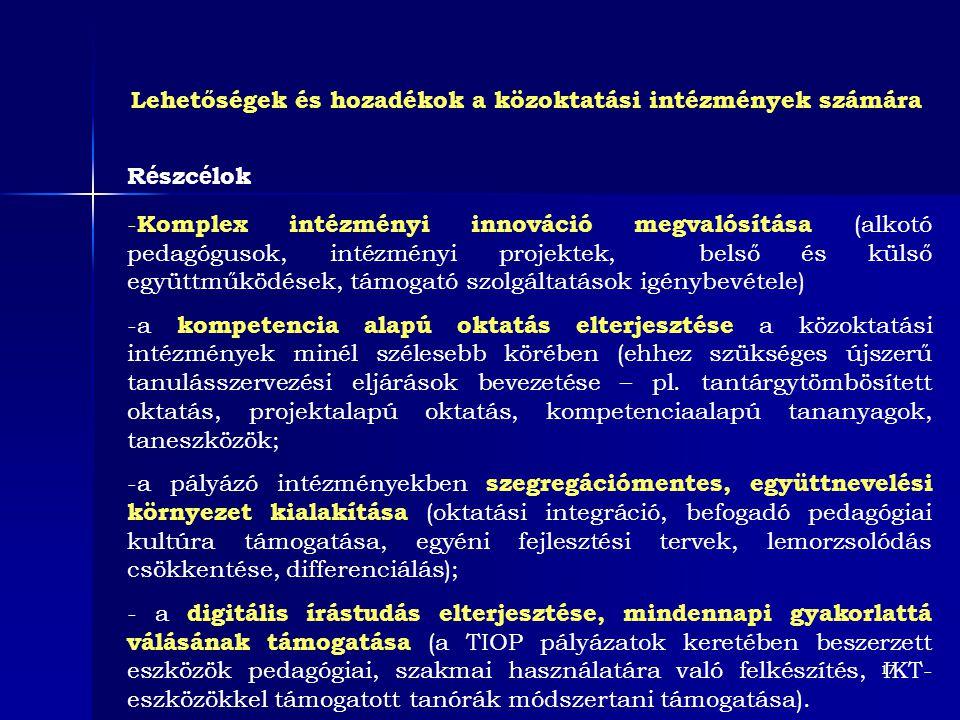 17 R é szc é lok - Komplex intézményi innováció megvalósítása (alkotó pedagógusok, intézményi projektek, belső és külső együttműködések, támogató szol