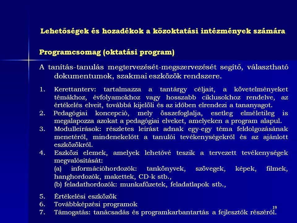 19 Programcsomag (oktatási program) A tanítás-tanulás megtervezését-megszervezését segítő, választható dokumentumok, szakmai eszközök rendszere. 1. Ke