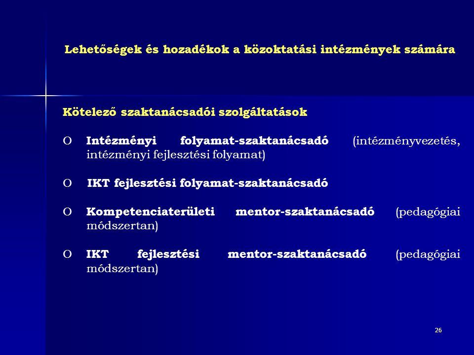 26 Kötelező szaktanácsadói szolgáltatások O Intézményi folyamat-szaktanácsadó (intézményvezetés, intézményi fejlesztési folyamat) O IKT fejlesztési fo