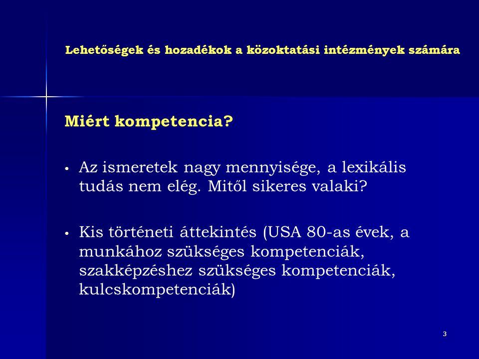 3 Miért kompetencia? • Az ismeretek nagy mennyisége, a lexikális tudás nem elég. Mitől sikeres valaki? • Kis történeti áttekintés (USA 80-as évek, a m