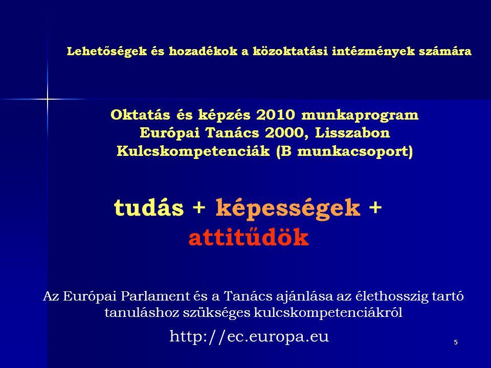 5 Lehetőségek és hozadékok a közoktatási intézmények számára Oktatás és képzés 2010 munkaprogram Európai Tanács 2000, Lisszabon Kulcskompetenciák (B m