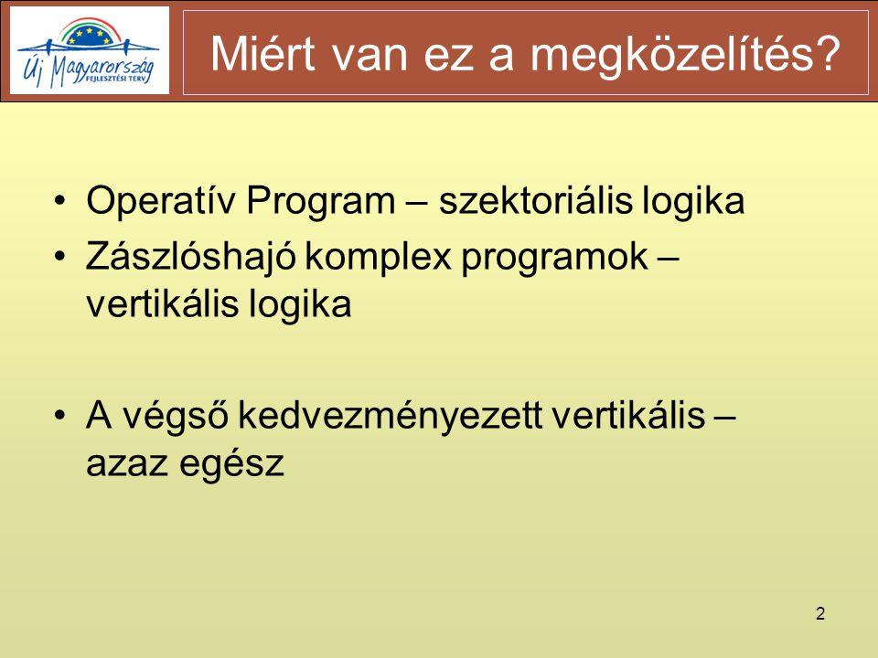2 •Operatív Program – szektoriális logika •Zászlóshajó komplex programok – vertikális logika •A végső kedvezményezett vertikális – azaz egész Miért van ez a megközelítés