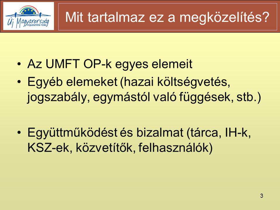 3 •Az UMFT OP-k egyes elemeit •Egyéb elemeket (hazai költségvetés, jogszabály, egymástól való függések, stb.) •Együttműködést és bizalmat (tárca, IH-k, KSZ-ek, közvetítők, felhasználók) Mit tartalmaz ez a megközelítés