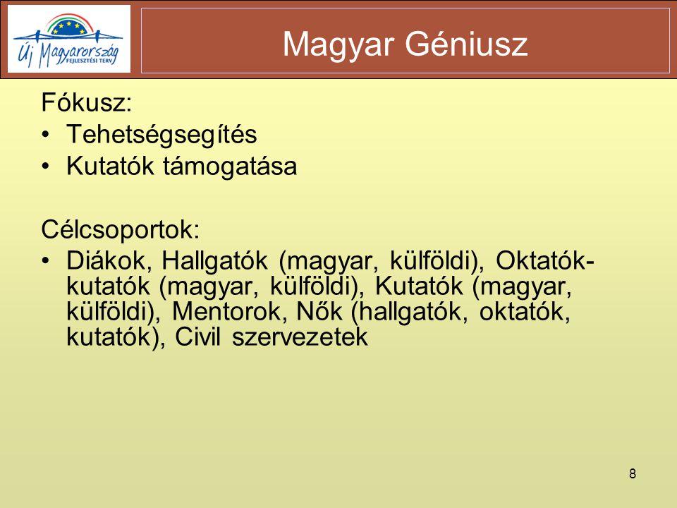 8 Fókusz: •Tehetségsegítés •Kutatók támogatása Célcsoportok: •Diákok, Hallgatók (magyar, külföldi), Oktatók- kutatók (magyar, külföldi), Kutatók (magyar, külföldi), Mentorok, Nők (hallgatók, oktatók, kutatók), Civil szervezetek Magyar Géniusz