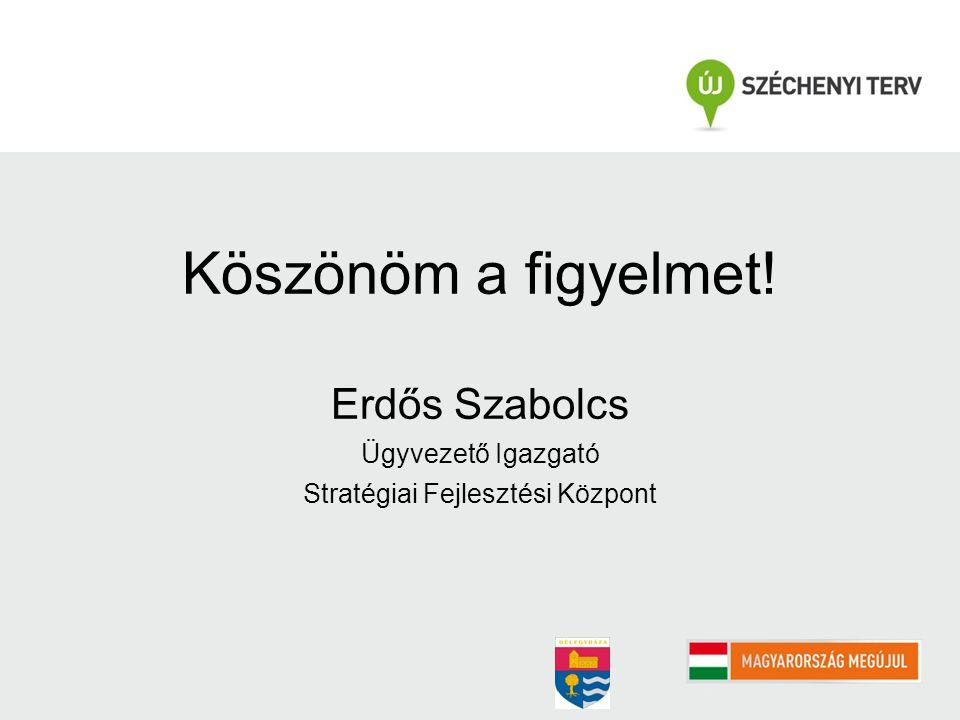 Köszönöm a figyelmet! Erdős Szabolcs Ügyvezető Igazgató Stratégiai Fejlesztési Központ