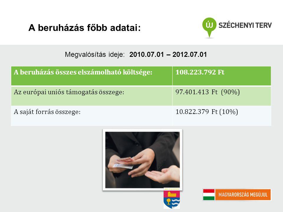 A beruházás főbb adatai: A beruházás összes elszámolható költsége: 108.223.792 Ft Az európai uniós támogatás összege: 97.401.413 Ft (90%) A saját forrás összege: 10.822.379 Ft (10%) Megvalósítás ideje: 2010.07.01 – 2012.07.01