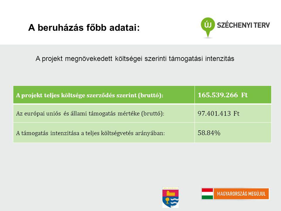 A beruházás főbb adatai: A projekt teljes költsége szerződés szerint (bruttó): 165.539.266 Ft Az európai uniós és állami támogatás mértéke (bruttó): 97.401.413 Ft A támogatás intenzitása a teljes költségvetés arányában: 58.84% A projekt megnövekedett költségei szerinti támogatási intenzitás