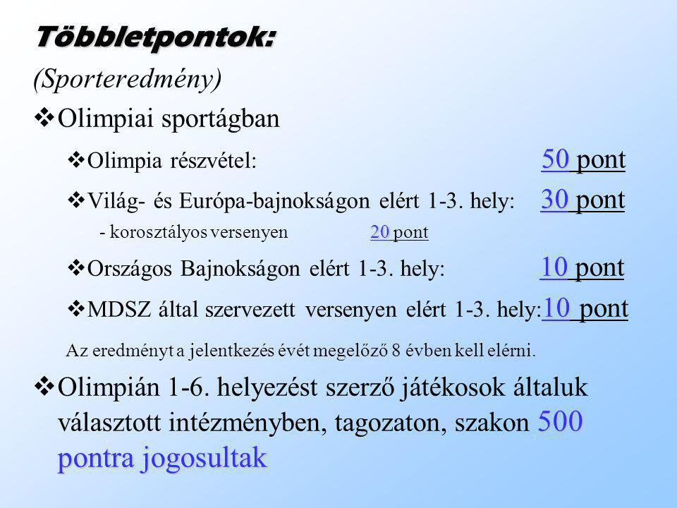 Többletpontok: (Sporteredmény) OO limpiai sportágban OO limpia részvétel: 5 0 pont VV ilág- és Európa-bajnokságon elért 1-3. hely: 3 0 pont - ko