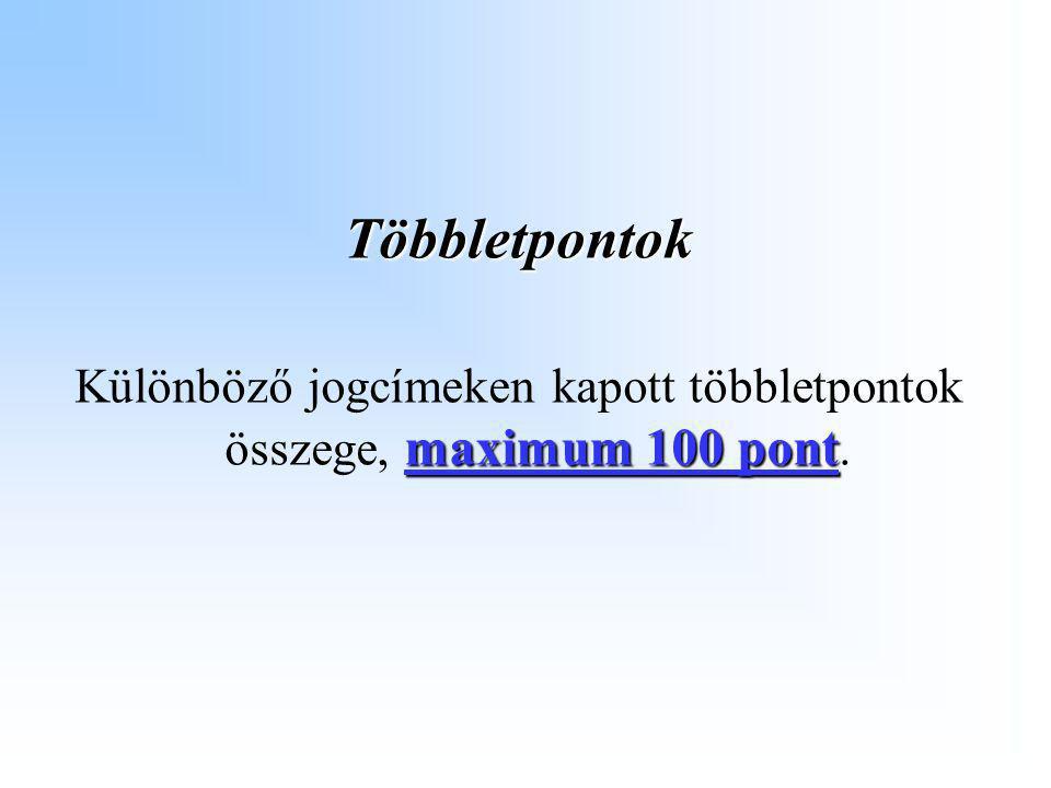 Többletpontok maximum 100 pont Különböző jogcímeken kapott többletpontok összege, maximum 100 pont.