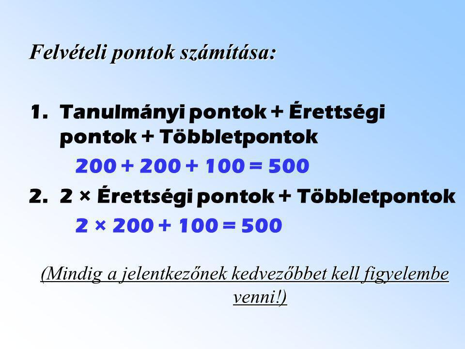 Felvételi pontok számítása: 1.Tanulmányi pontok + Érettségi pontok + Többletpontok 200 + 200 + 100 = 500 2.2 × Érettségi pontok + Többletpontok 2 × 20