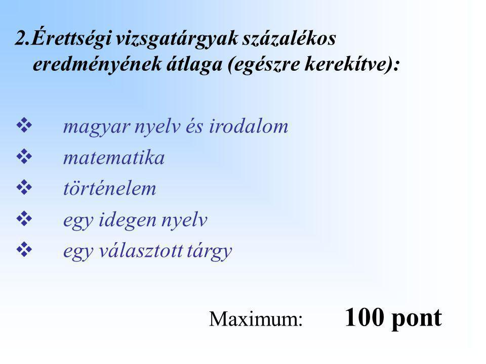 2.Érettségi vizsgatárgyak százalékos eredményének átlaga (egészre kerekítve): mm agyar nyelv és irodalom mm atematika tt örténelem ee gy idege