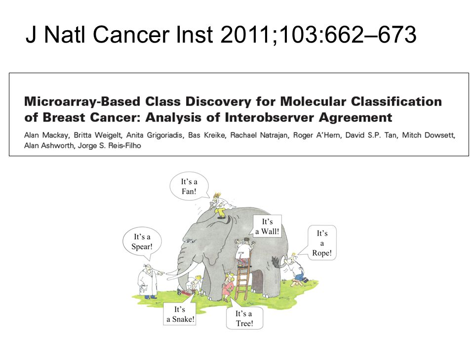"""Conclusions """"Assignment of molecular subtype classes of breast cancer based on the analysis of dendrograms obtained with hierarchical cluster analysis is subjective and shows modest interobserver reproducibility."""