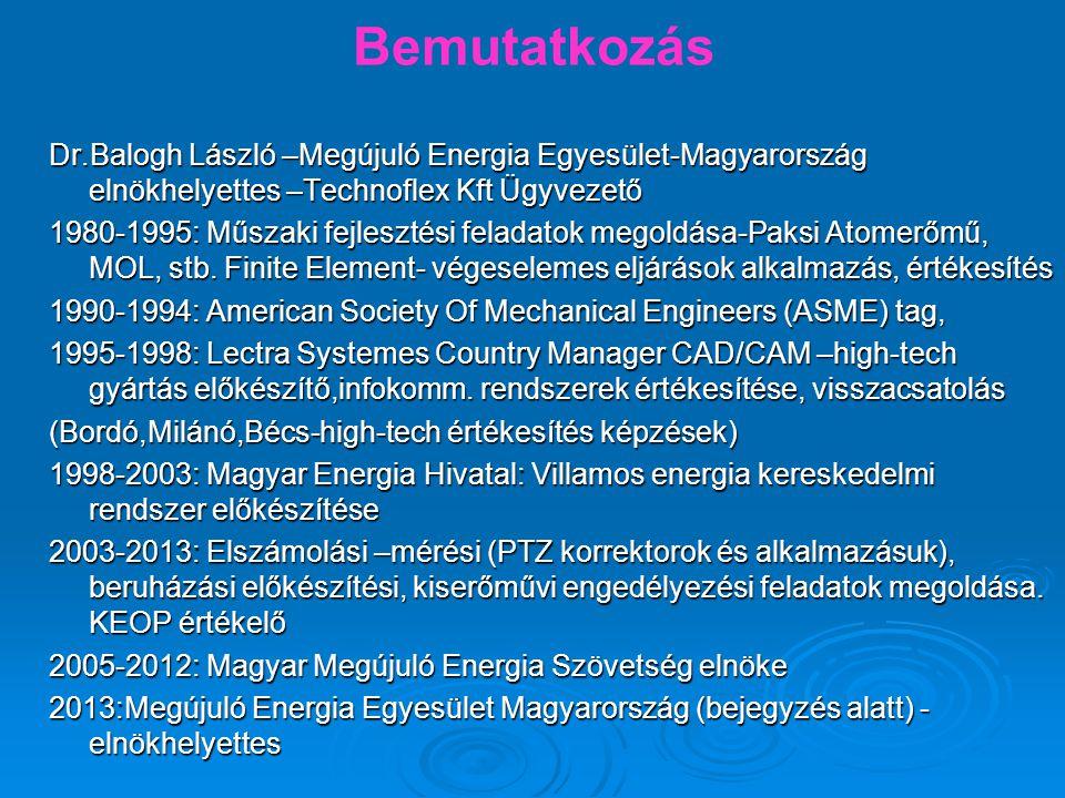 Bemutatkozás Dr.Balogh László –Megújuló Energia Egyesület-Magyarország elnökhelyettes –Technoflex Kft Ügyvezető 1980-1995: Műszaki fejlesztési feladatok megoldása-Paksi Atomerőmű, MOL, stb.