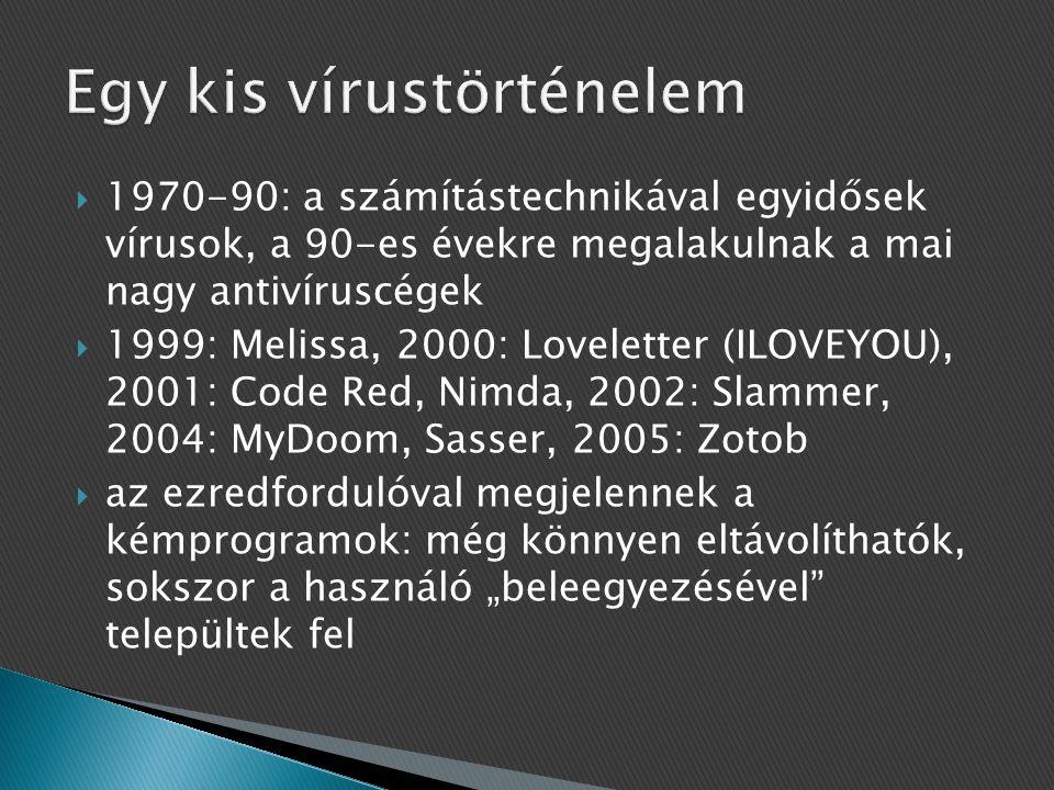 """ 1970-90: a számítástechnikával egyidősek vírusok, a 90-es évekre megalakulnak a mai nagy antivíruscégek  1999: Melissa, 2000: Loveletter (ILOVEYOU), 2001: Code Red, Nimda, 2002: Slammer, 2004: MyDoom, Sasser, 2005: Zotob  az ezredfordulóval megjelennek a kémprogramok: még könnyen eltávolíthatók, sokszor a használó """"beleegyezésével települtek fel"""