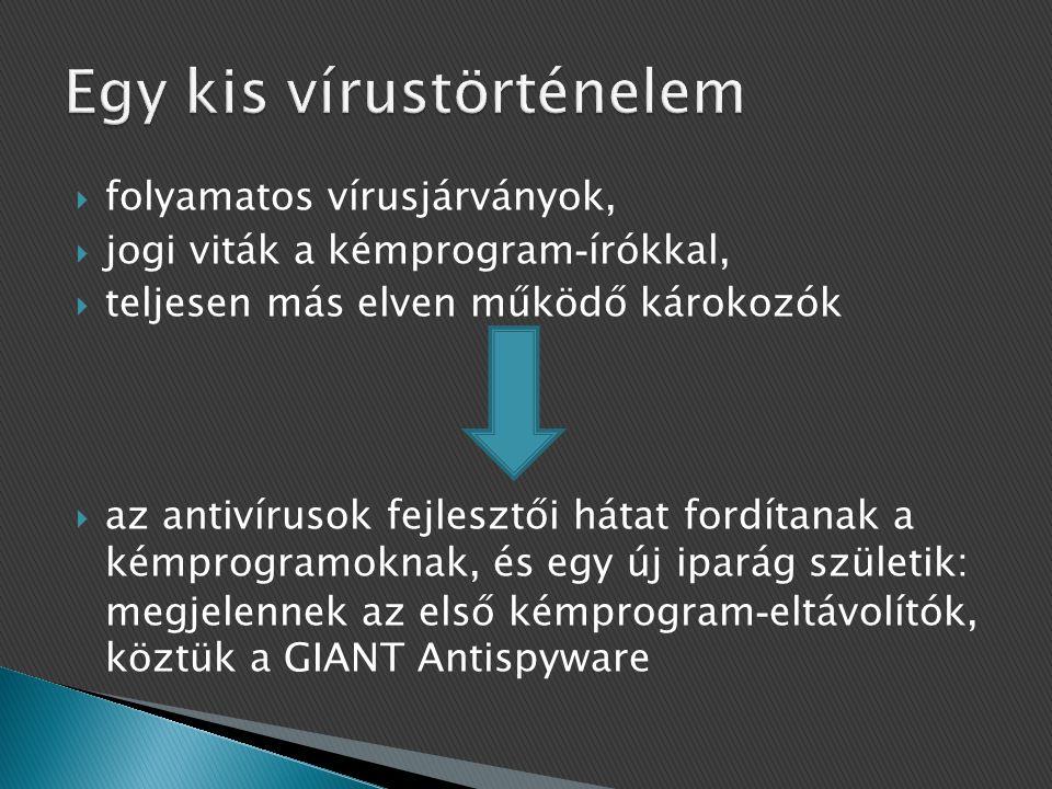  folyamatos vírusjárványok,  jogi viták a kémprogram - írókkal,  teljesen más elven működő károkozók  az antivírusok fejlesztői hátat fordítanak a kémprogramoknak, és egy új iparág születik: megjelennek az első kémprogram - eltávolítók, köztük a GIANT Antispyware