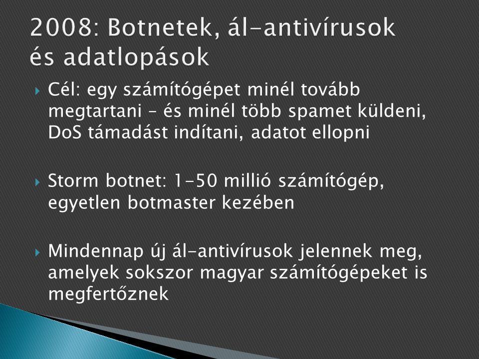  Cél: egy számítógépet minél tovább megtartani – és minél több spamet küldeni, DoS támadást indítani, adatot ellopni  Storm botnet: 1-50 millió számítógép, egyetlen botmaster kezében  Mindennap új ál-antivírusok jelennek meg, amelyek sokszor magyar számítógépeket is megfertőznek