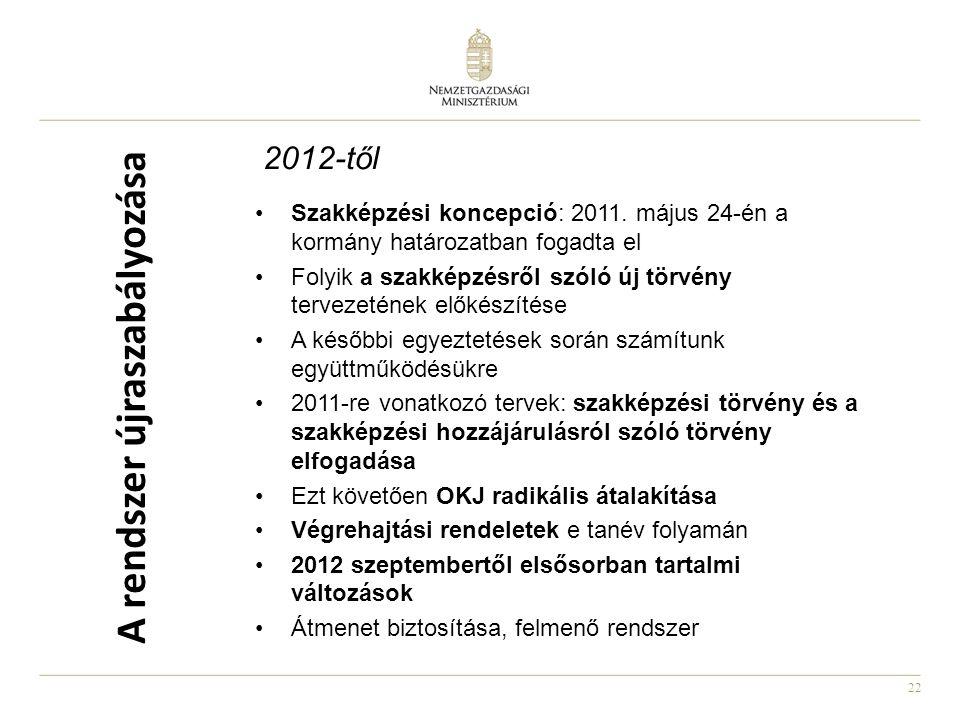 22 2012-től •Szakképzési koncepció: 2011. május 24-én a kormány határozatban fogadta el •Folyik a szakképzésről szóló új törvény tervezetének előkészí