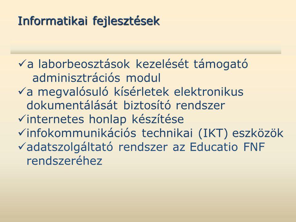  a laborbeosztások kezelését támogató adminisztrációs modul  a megvalósuló kísérletek elektronikus dokumentálását biztosító rendszer  internetes honlap készítése  infokommunikációs technikai (IKT) eszközök  adatszolgáltató rendszer az Educatio FNF rendszeréhez Informatikai fejlesztések
