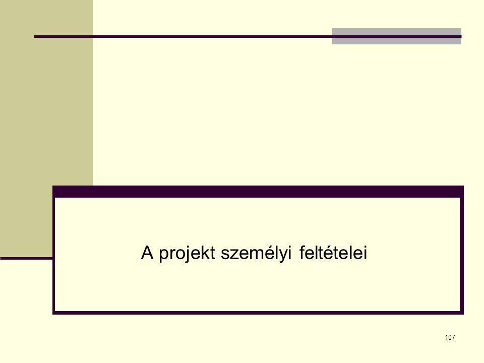 107 A projekt személyi feltételei