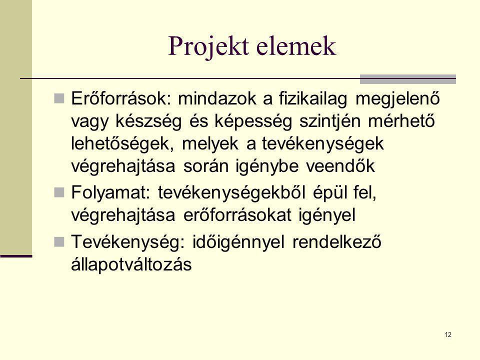 12 Projekt elemek  Erőforrások: mindazok a fizikailag megjelenő vagy készség és képesség szintjén mérhető lehetőségek, melyek a tevékenységek végreha