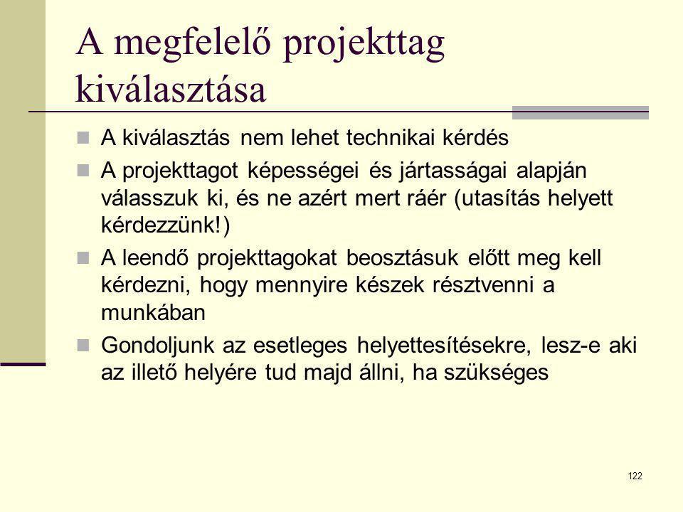 122 A megfelelő projekttag kiválasztása  A kiválasztás nem lehet technikai kérdés  A projekttagot képességei és jártasságai alapján válasszuk ki, és