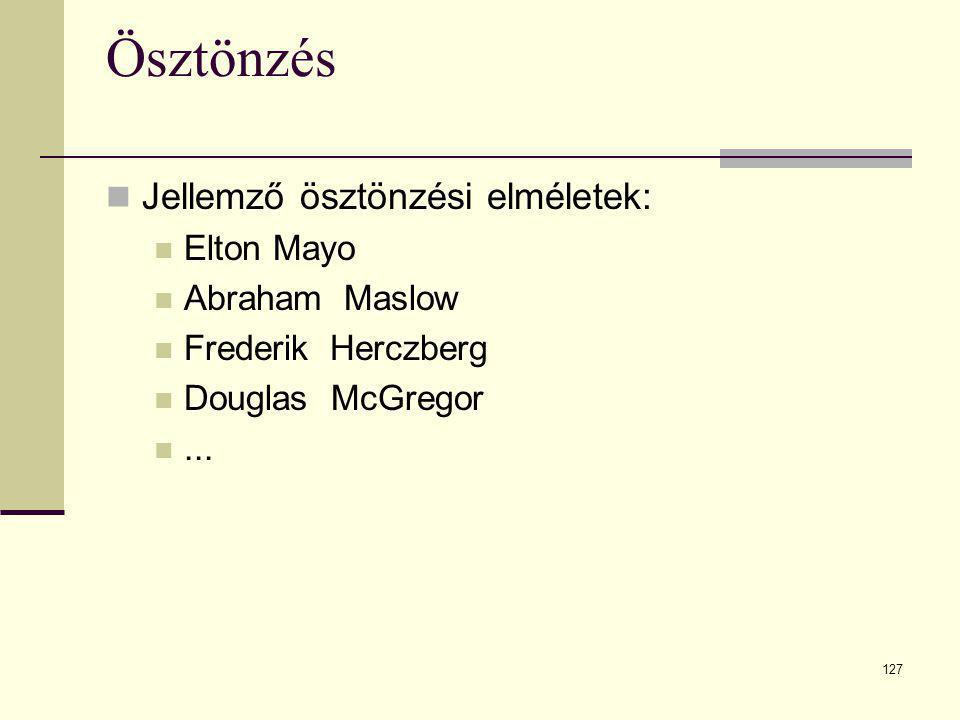 127 Ösztönzés  Jellemző ösztönzési elméletek:  Elton Mayo  Abraham Maslow  Frederik Herczberg  Douglas McGregor ...