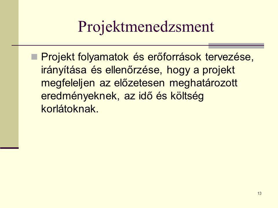 13 Projektmenedzsment  Projekt folyamatok és erőforrások tervezése, irányítása és ellenőrzése, hogy a projekt megfeleljen az előzetesen meghatározott