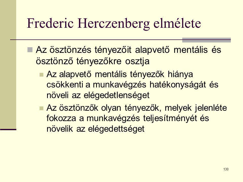 130 Frederic Herczenberg elmélete  Az ösztönzés tényezőit alapvető mentális és ösztönző tényezőkre osztja  Az alapvető mentális tényezők hiánya csök