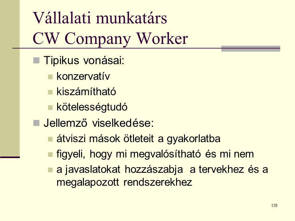 138 Vállalati munkatárs CW Company Worker  Tipikus vonásai:  konzervatív  kiszámítható  kötelességtudó  Jellemző viselkedése:  átviszi mások ötl