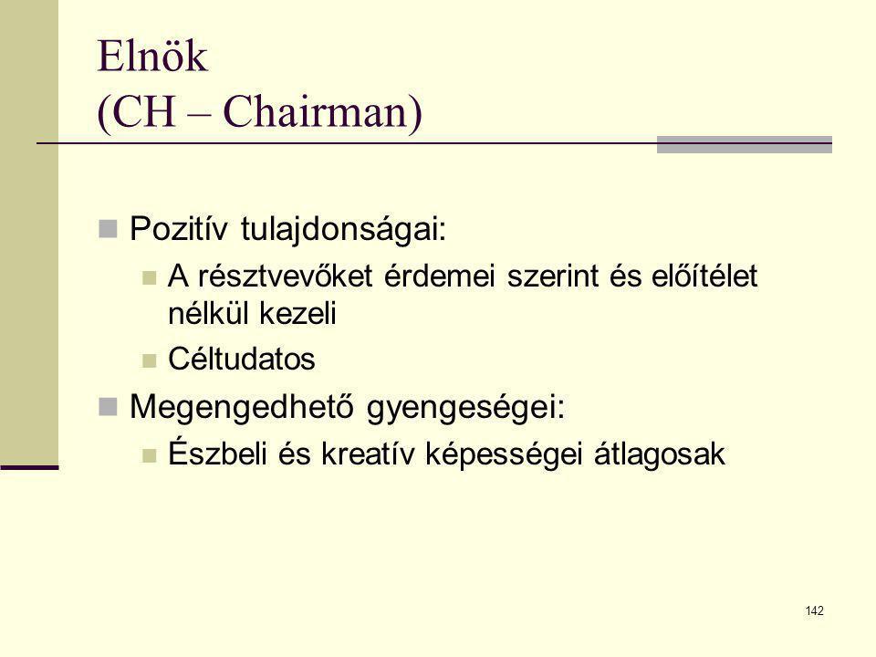 142 Elnök (CH – Chairman)  Pozitív tulajdonságai:  A résztvevőket érdemei szerint és előítélet nélkül kezeli  Céltudatos  Megengedhető gyengeségei