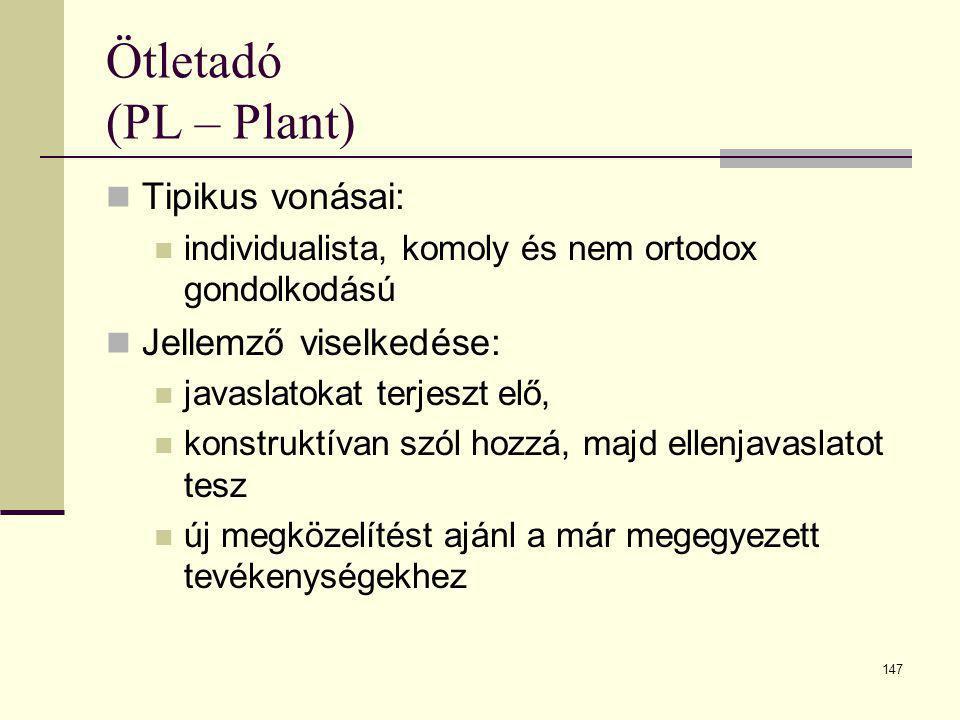 147 Ötletadó (PL – Plant)  Tipikus vonásai:  individualista, komoly és nem ortodox gondolkodású  Jellemző viselkedése:  javaslatokat terjeszt elő,