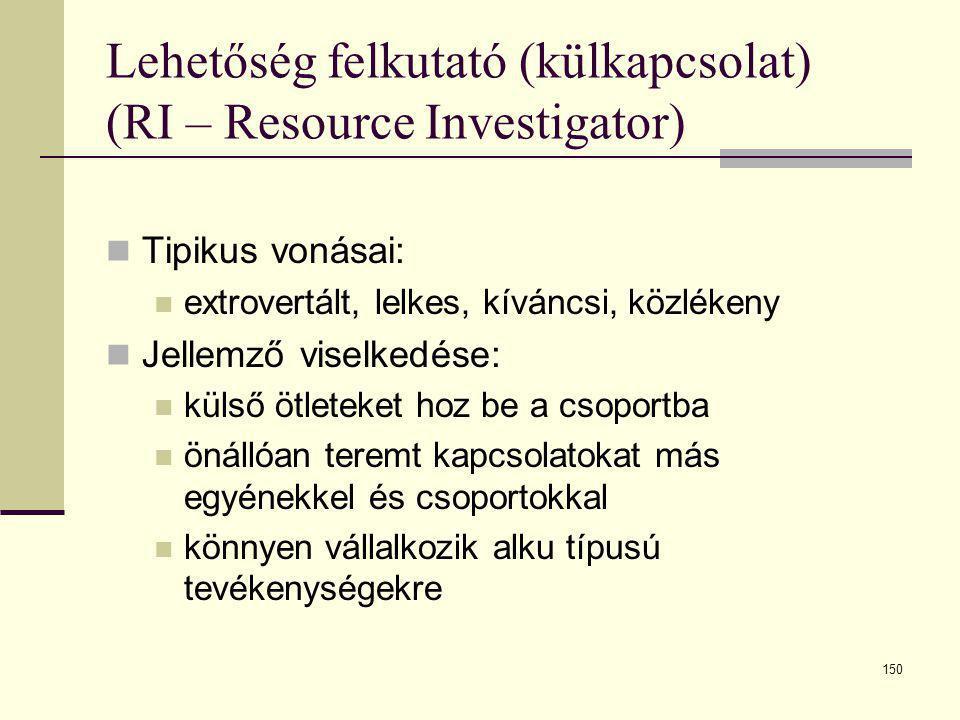 150 Lehetőség felkutató (külkapcsolat) (RI – Resource Investigator)  Tipikus vonásai:  extrovertált, lelkes, kíváncsi, közlékeny  Jellemző viselked