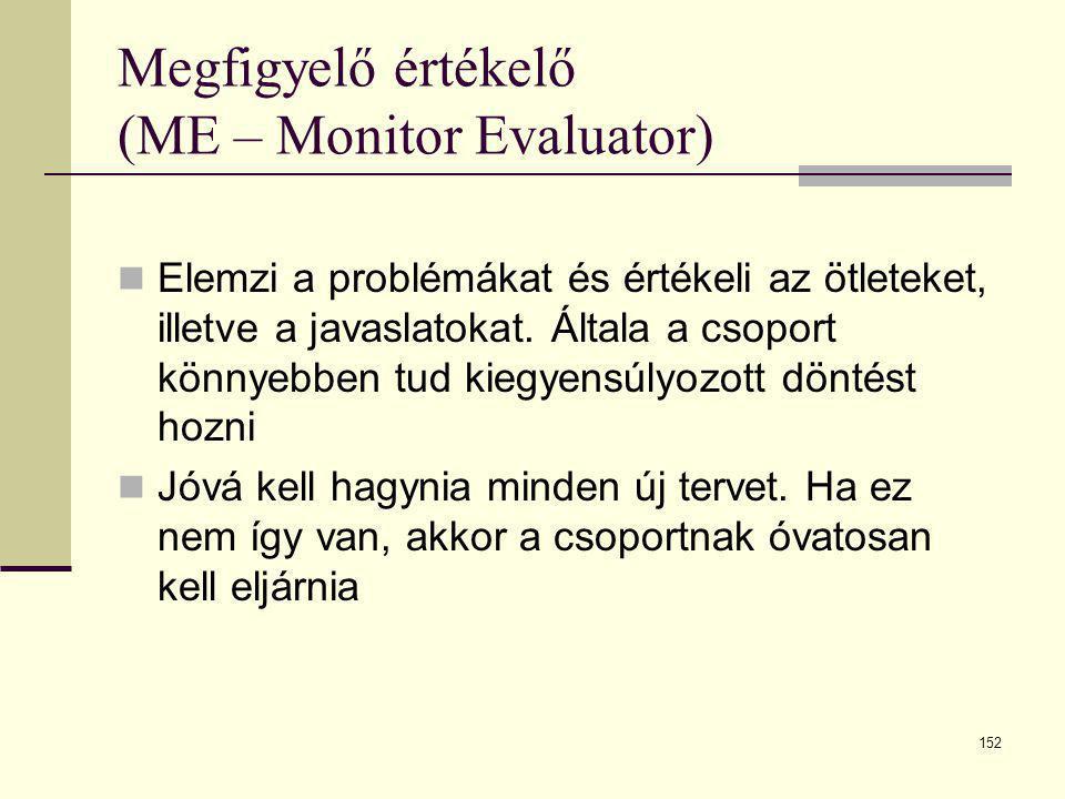 152 Megfigyelő értékelő (ME – Monitor Evaluator)  Elemzi a problémákat és értékeli az ötleteket, illetve a javaslatokat. Általa a csoport könnyebben