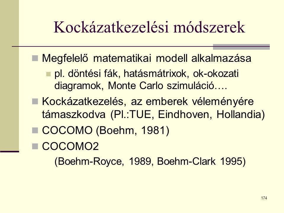 174 Kockázatkezelési módszerek  Megfelelő matematikai modell alkalmazása  pl. döntési fák, hatásmátrixok, ok-okozati diagramok, Monte Carlo szimulác
